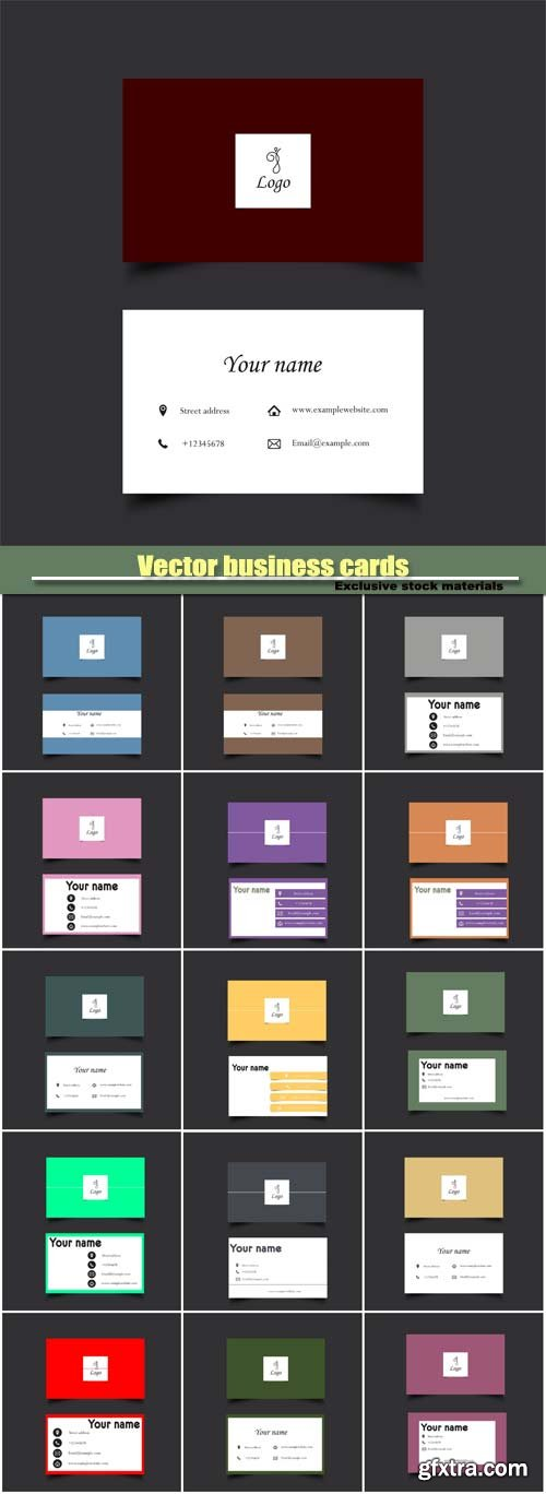Stylish colored vector business cards