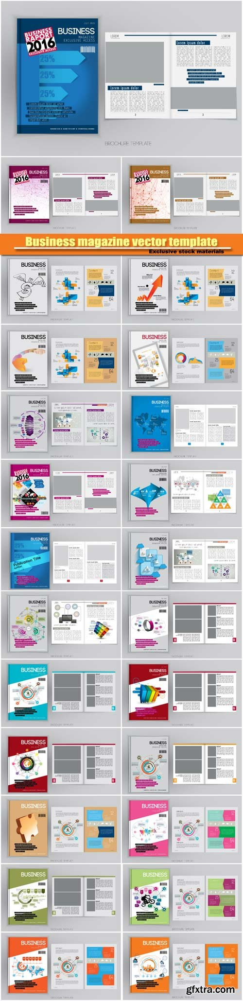 Business magazine exclusive vector template