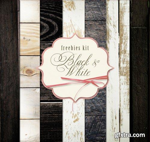 Wood Background Textures - Black & White