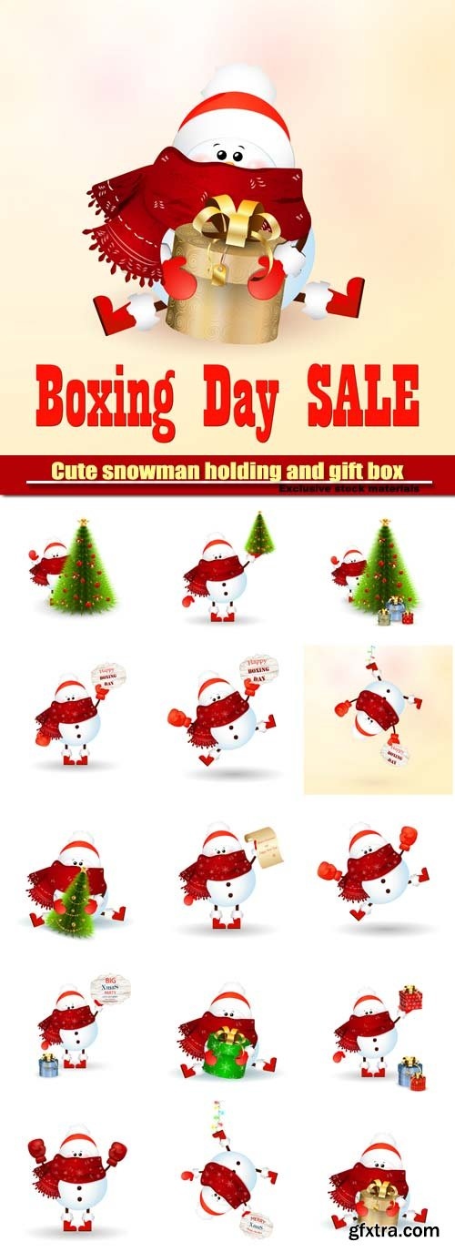 Cute snowman holding and gift box, vector christmas tree