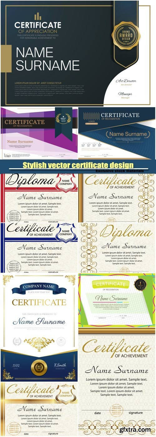 Stylish vector certificate design