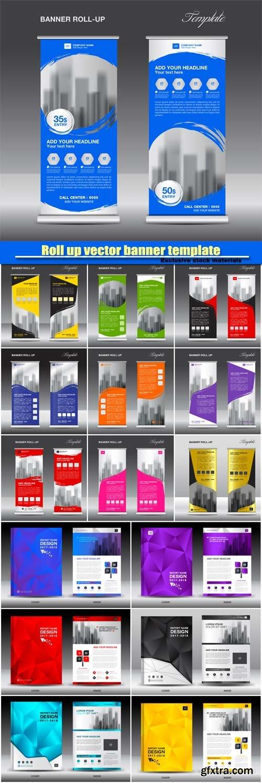 Roll up vector banner template, brochure flyer template design