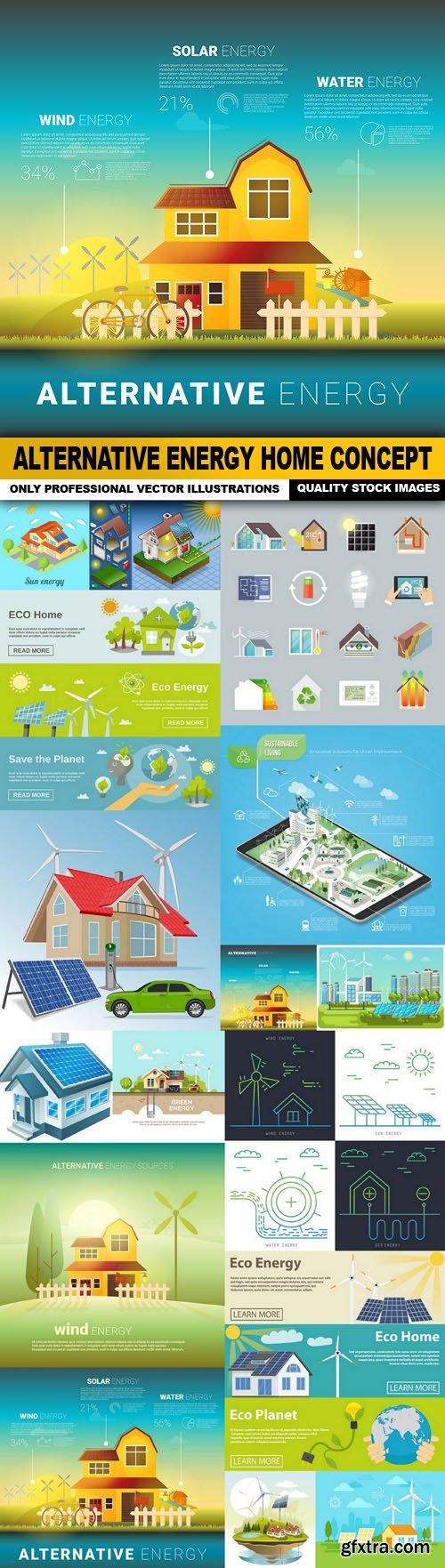 Alternative Energy Home Concept - 16 Vector