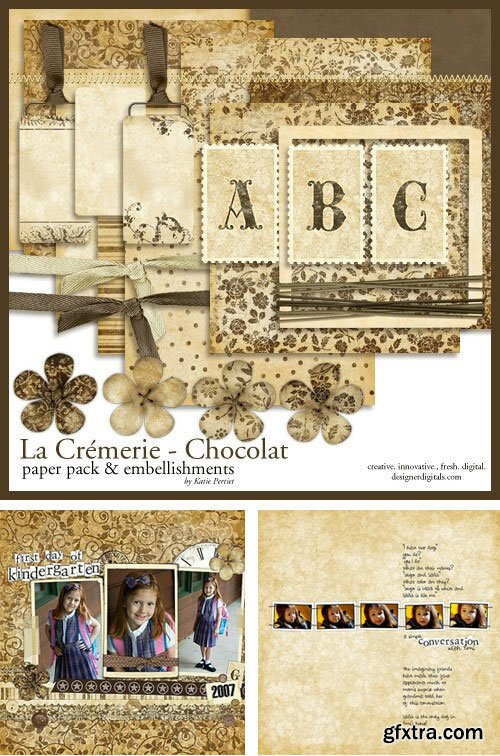 Katie Pertiet - La Cremerie Chocolat Kit, Paper Pack & Embellishments