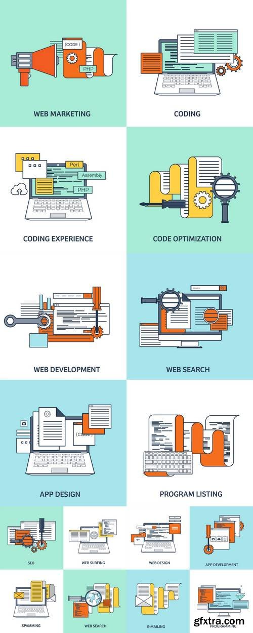 Flat Background - Coding, Programming
