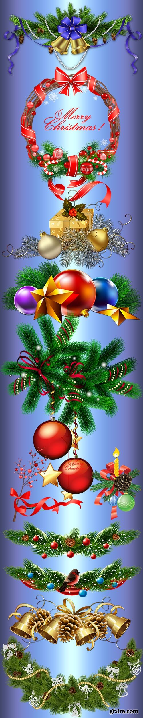 New year and Christmas clusters on a transparent background