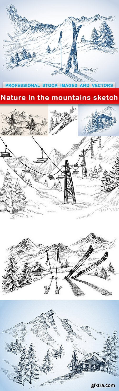 Nature in the mountains sketch - 7 EPS