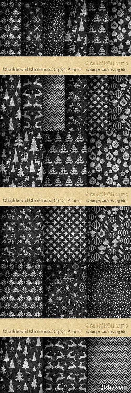 CM - Chalkboard Christmas Digital Papers 804592