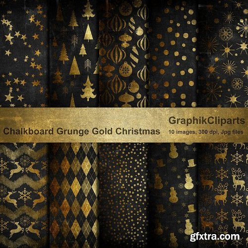 CM - Chalk Grunge Gold Christmas Papers 941291