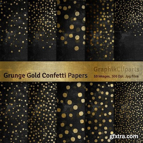 CM - Grunge Gold Confetti Digital Papers 804594