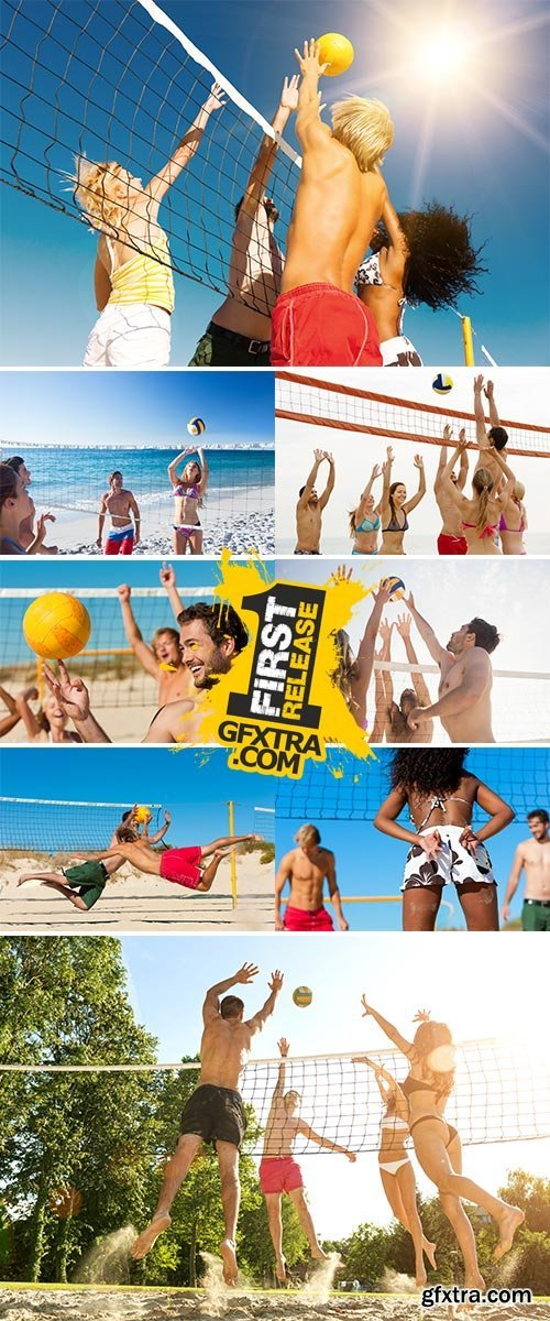 Stock Image playing beach volley near the sea