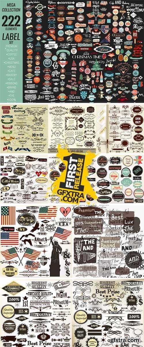 Mega collection labels set premium quality, cafe, bakery, sale Stock vector