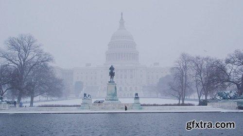 Scenic Capitol Building snow fall
