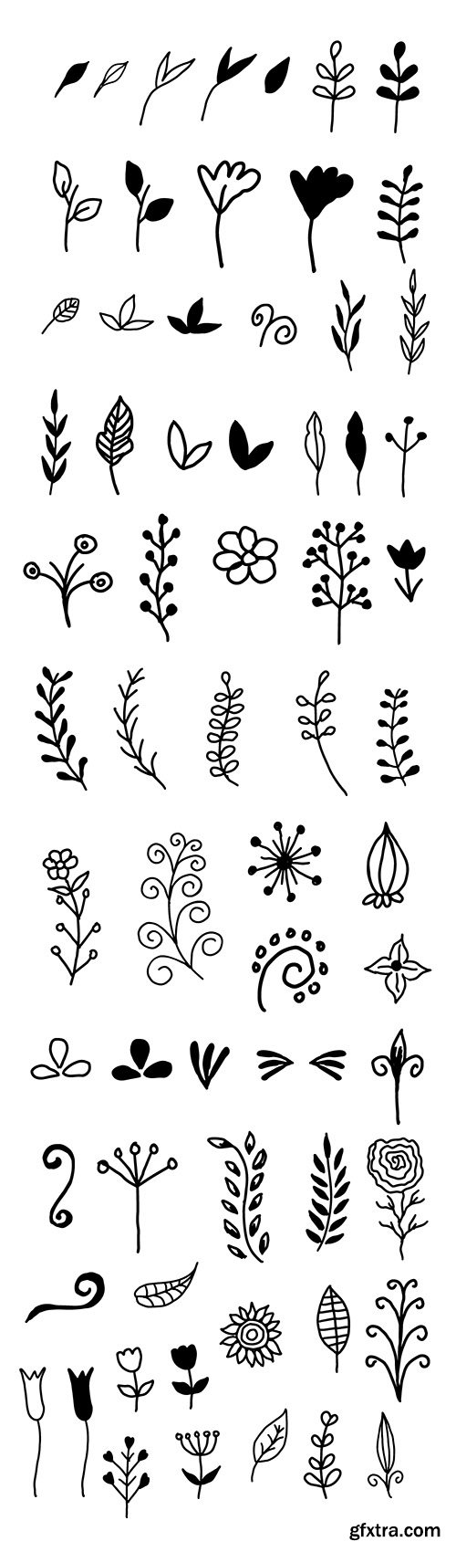 AI, EPS, PSD, PNG, SVG Vector Elements - 65 Hand-Drawn Decorative Floral Elements