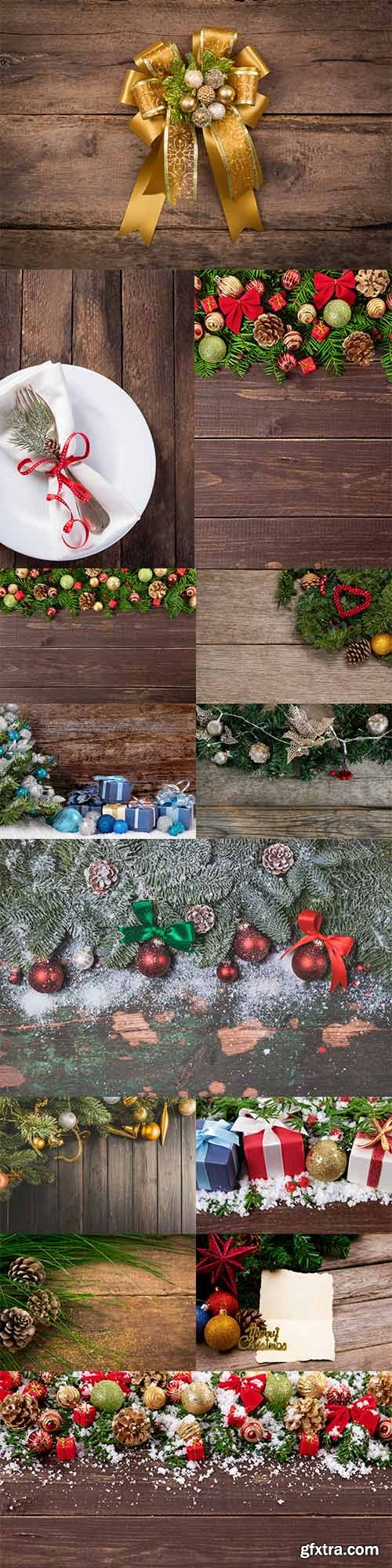 Wooden backgrounds with Christmas decorations 2