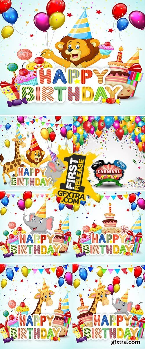 Birthday background with happy children Stock vector