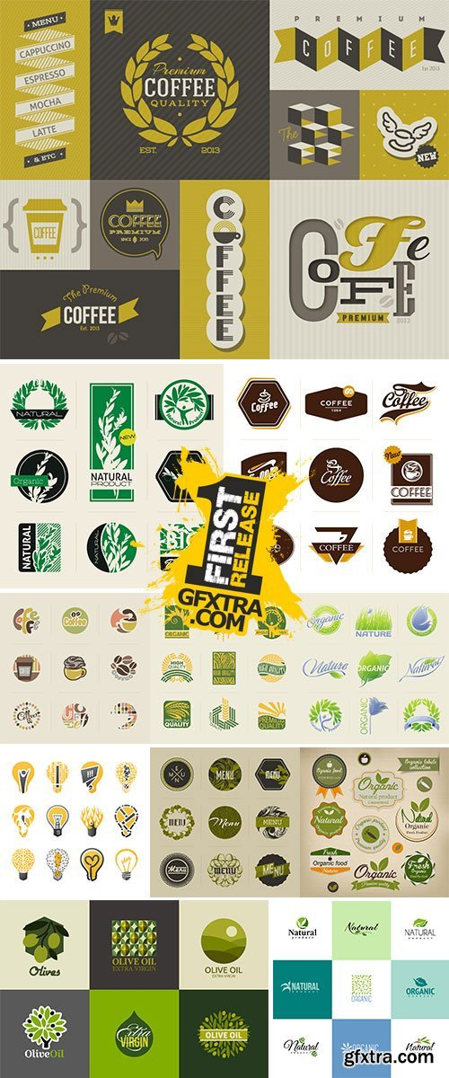 Natural organic product labels, emblems and badges Stock vector