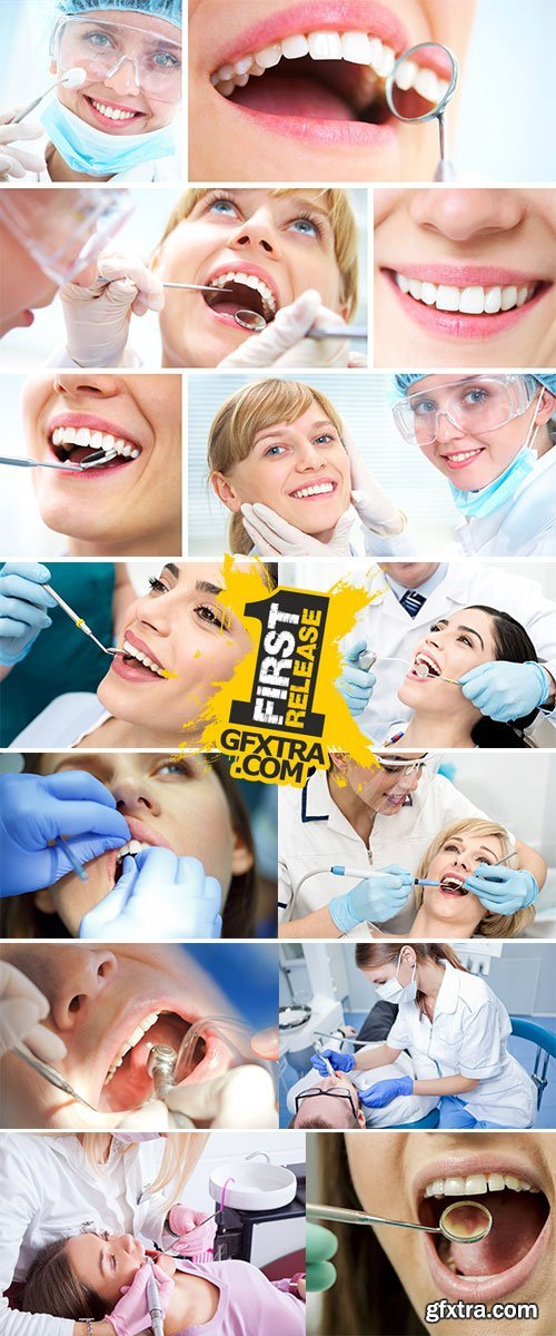 Close up woman getting a dental treatment Stock Images