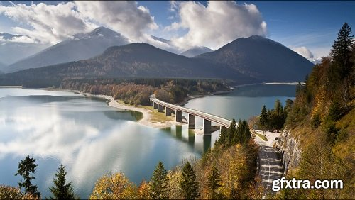 T L bridge over sylvenstein lake bavarian alps bavaria germany