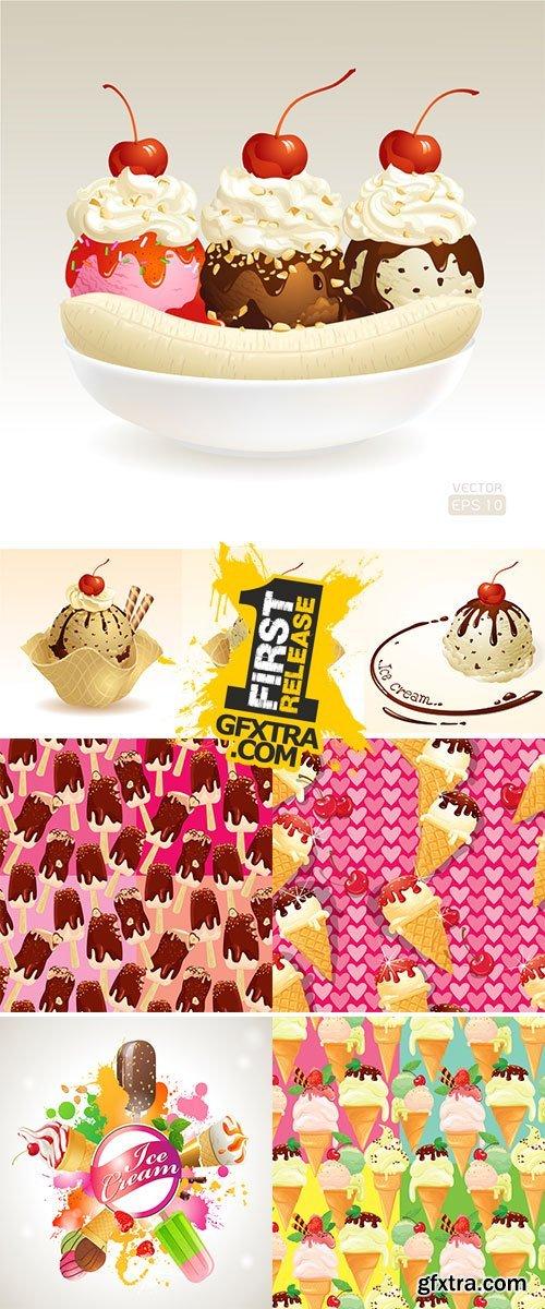Ice cream shop label with type design and ice cream Stock vectors