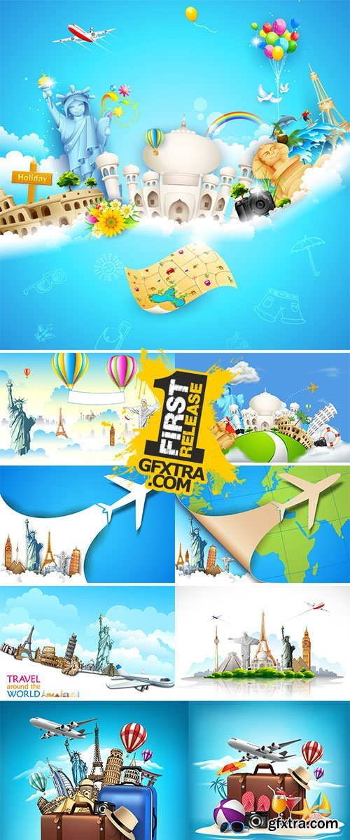Travel and Tourism Background with Famous World Landmarks - Stock vector