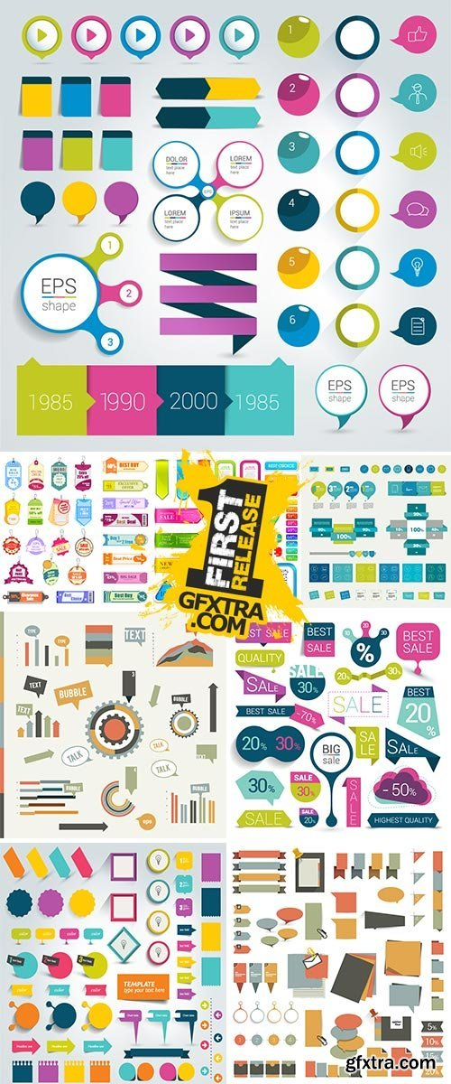 Big set of colorful sale stickers bubbles ribbons Stock vector