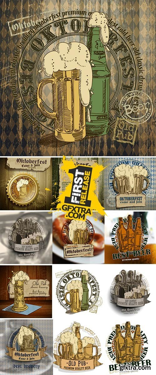 Design flyers and labels to traditional Oktoberfest beer festival - Stock Vector