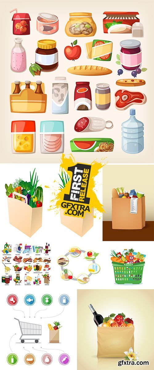 Common everyday food products - Stock Vectors