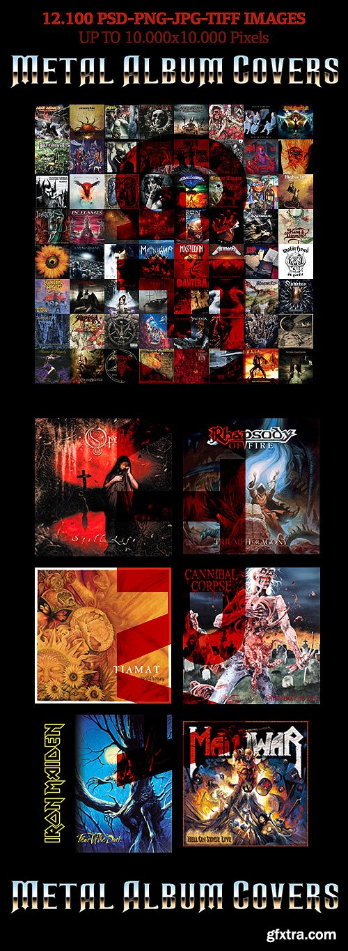 Amazing Metal Album Covers Collection 12.000 PSD, PNG, PDF and JPG