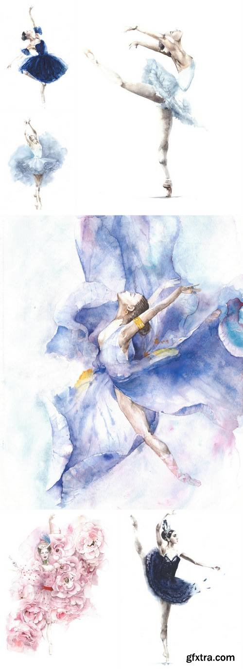 Ballerina Dancing Girl Watercolor Painting