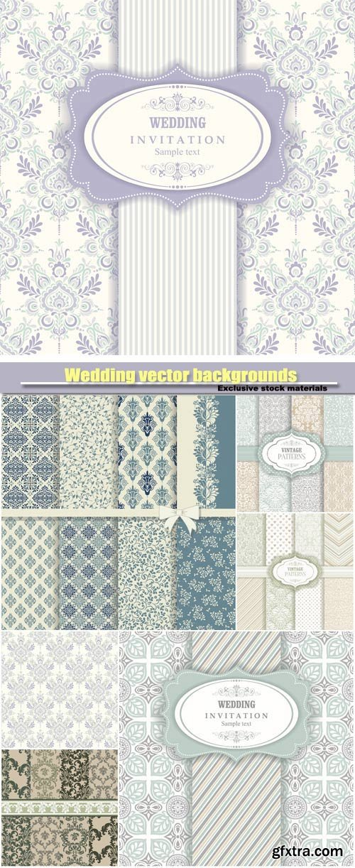 Wedding vector backgrounds with patterns in vintage style