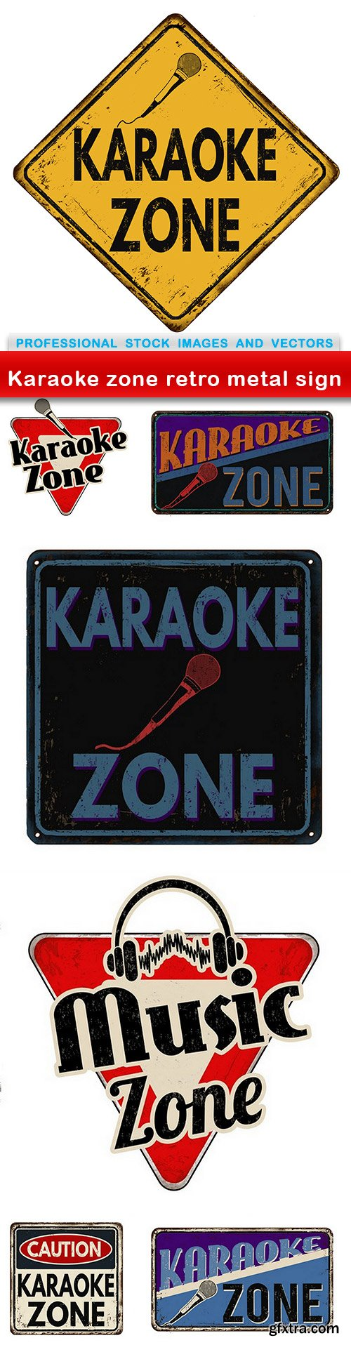 Karaoke zone retro metal sign - 7 EPS