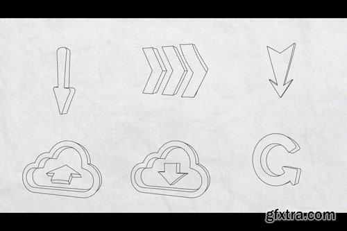 3d Flex Sketch Elements After Effects Templates