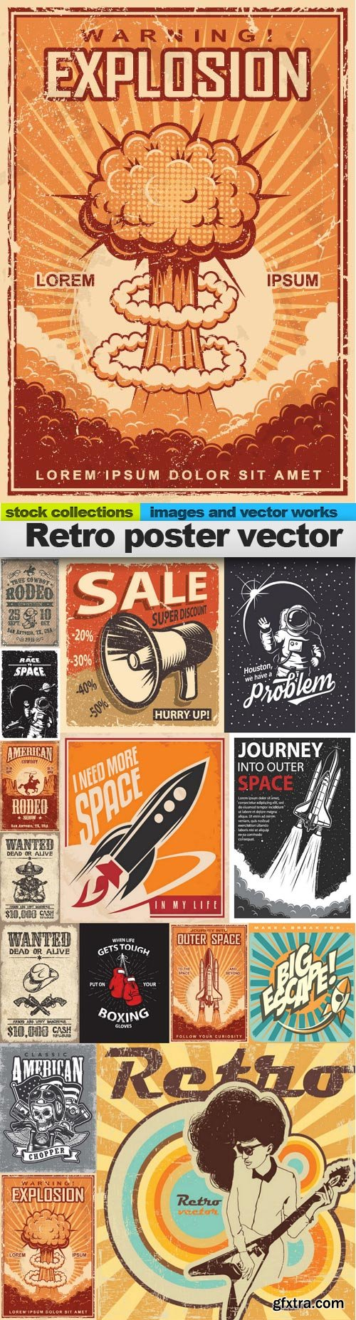 Retro poster vector, 15 x EPS