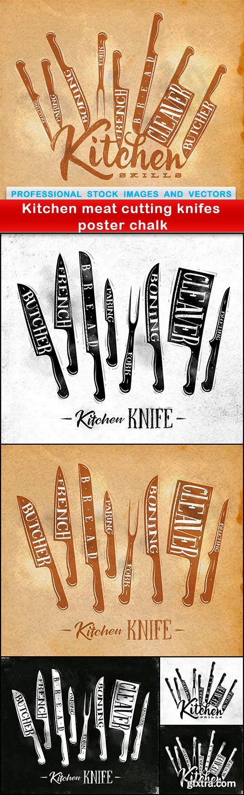 Kitchen meat cutting knifes poster chalk - 6 EPS