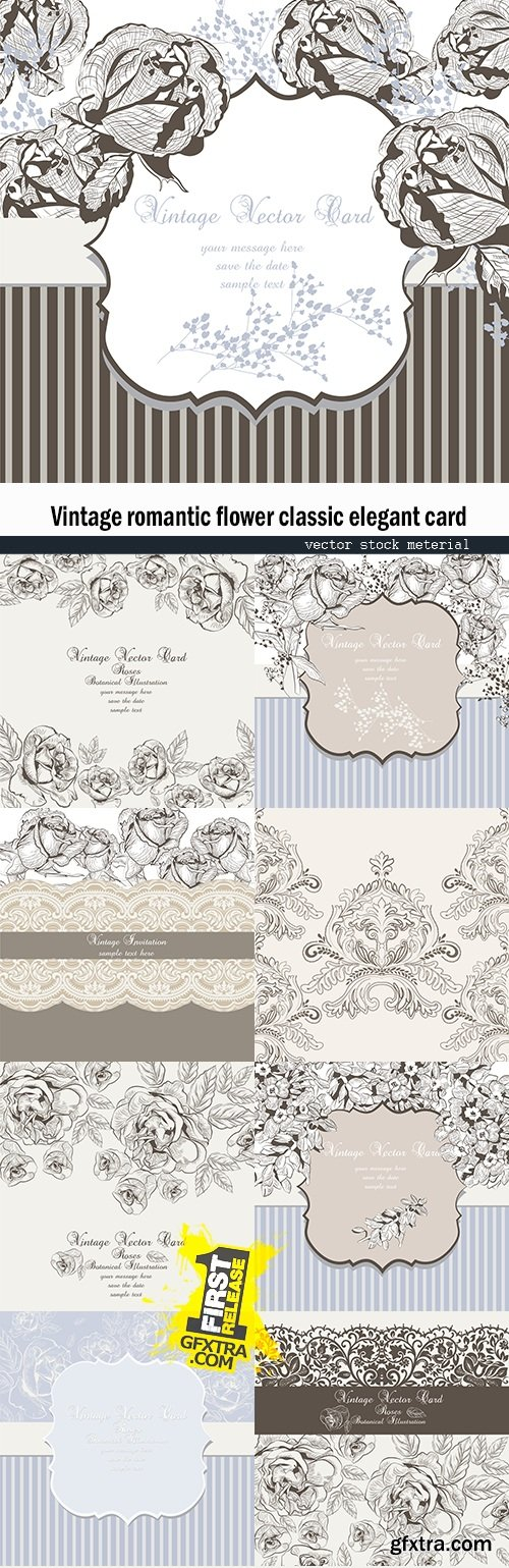 Vintage romantic flower classic elegant card