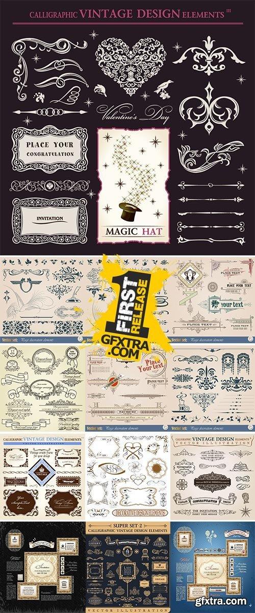 Stock Calligraphic icons vintage elements vector