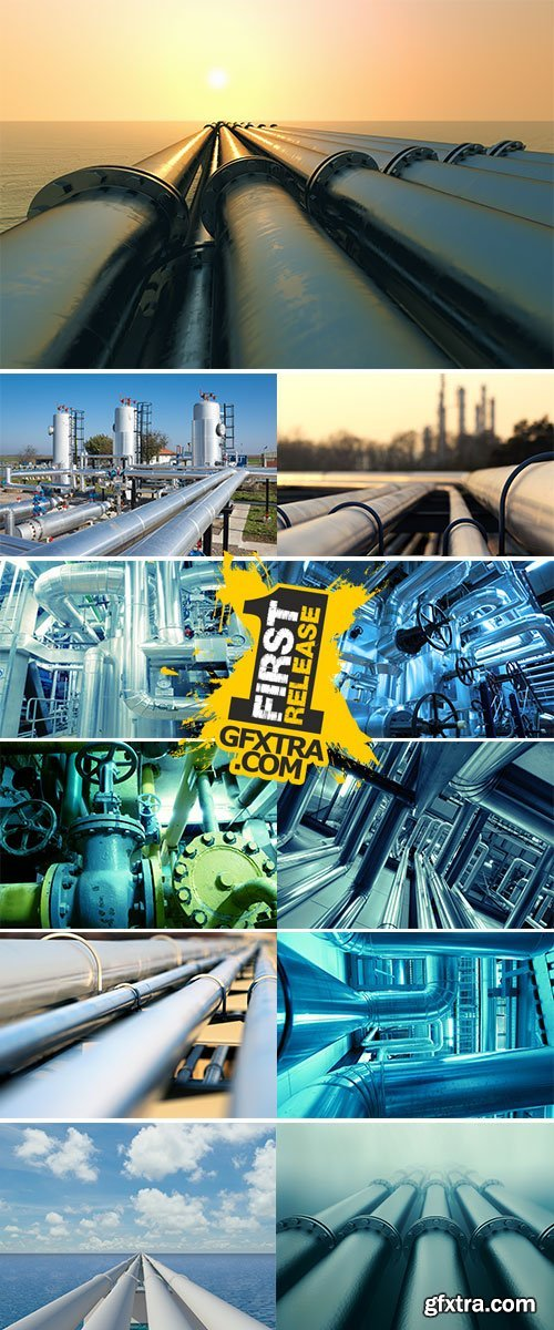 Stock Image Pipeline transport is the transportation of goods or material through a pipe