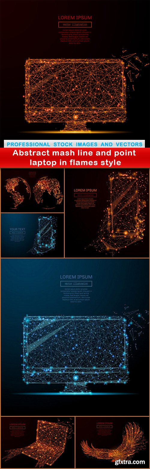 Abstract mash line and point laptop in flames style - 7 EPS