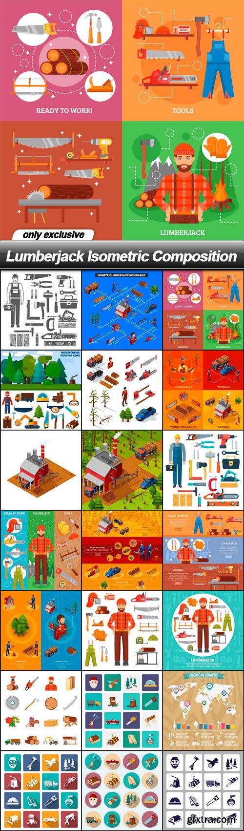 Lumberjack Isometric Composition - 21 EPS