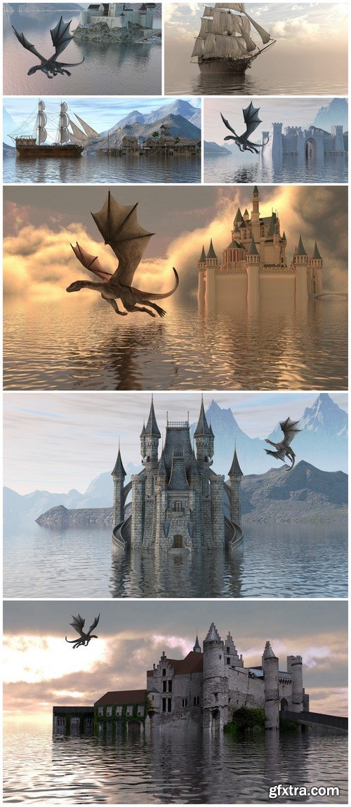 3D illustration Castle on the water and a dragon 7X JPEG