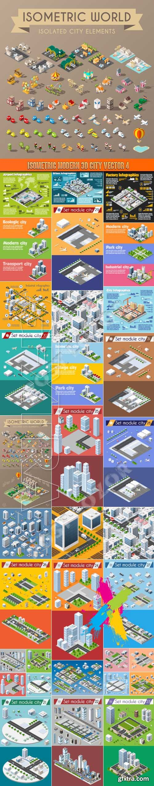 Isometric modern 3D city vector 4
