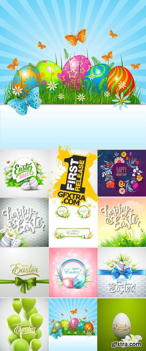 Stock happy easter label vector