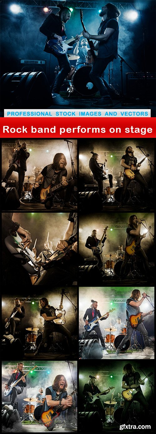 Rock band performs on stage - 9 UHQ JPEG