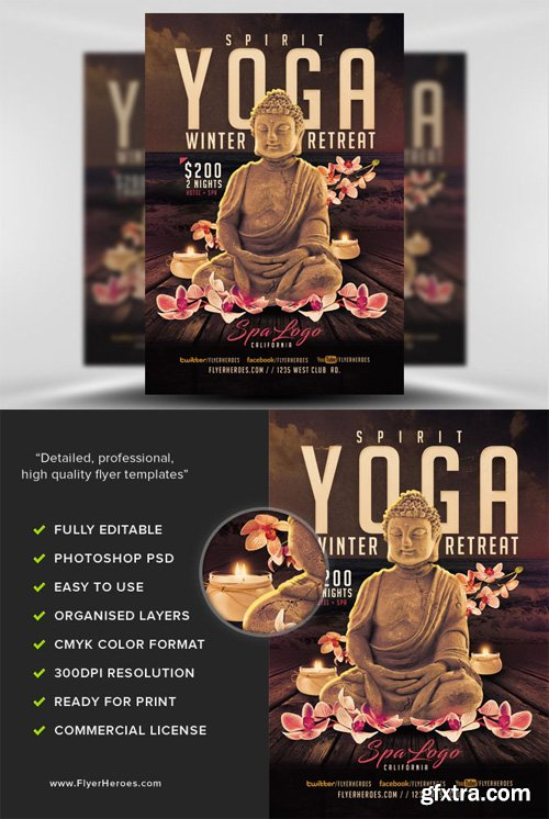 yoga winter retreat flyer template gfxtra