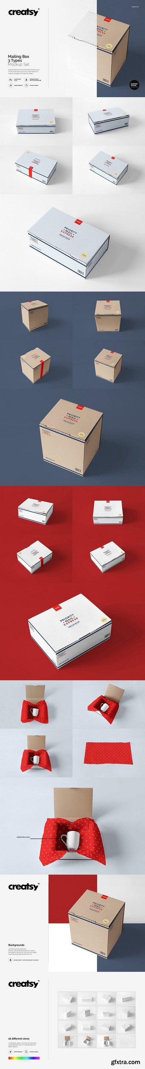 CM - Mailing Box 3 Types Mockup Set 1144518