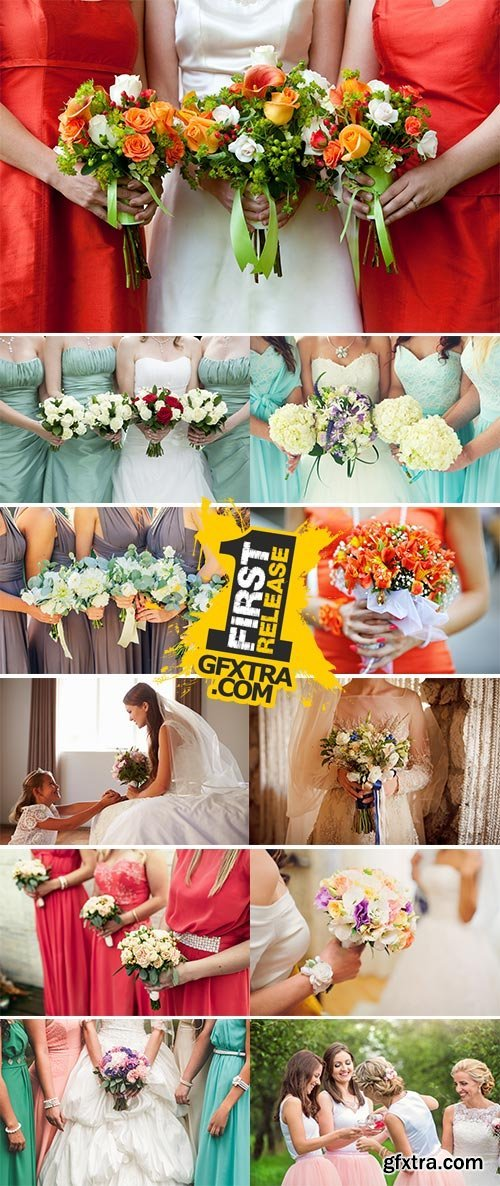 Stock Image Bride with bridesmaids holding wedding bouquets