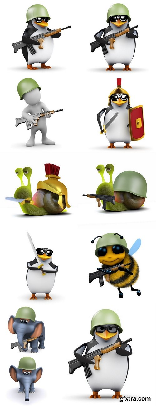3d Penguin, bee, snail, elephant, Soldier marching forward