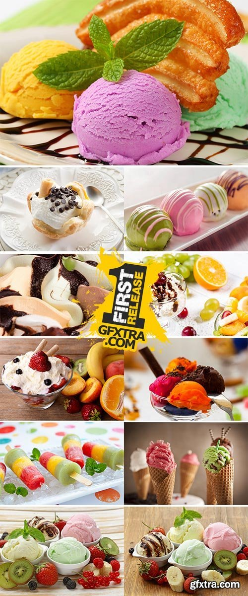Stock Image Assorted Ice Cream, view from above