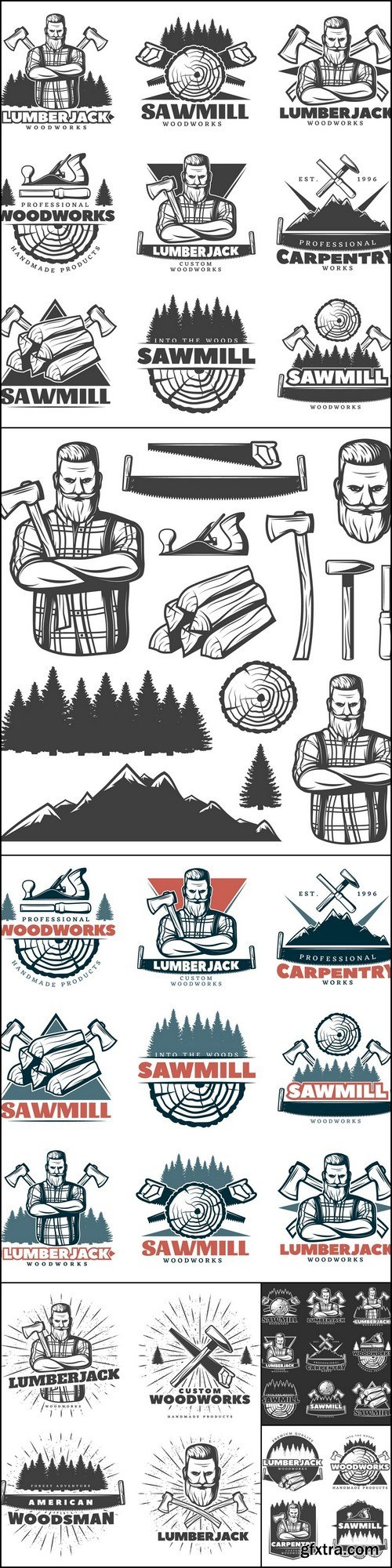 Woodcutter - 8 EPS Vector Stock